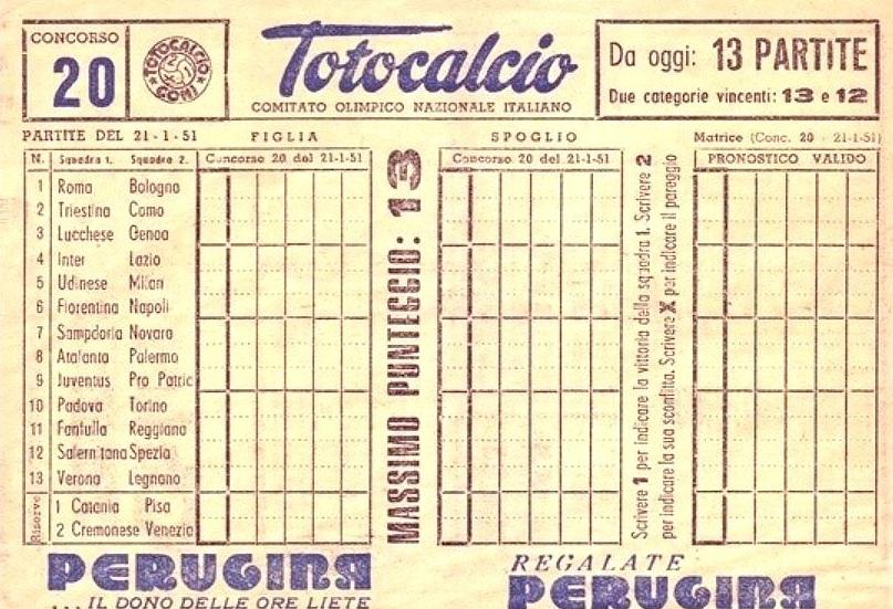 13 al Totocalcio, il sogno degli italiani