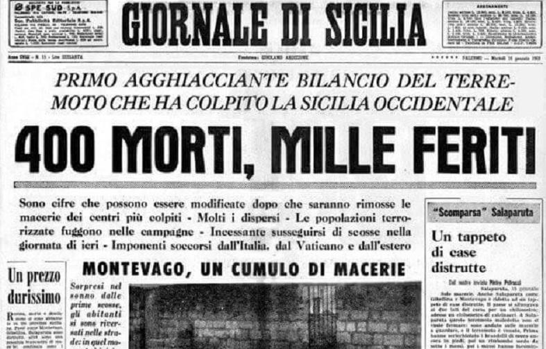Il terremoto del Belice – Il primo numero di Repubblica – Termina la Rivoluzione dei Gelsomini